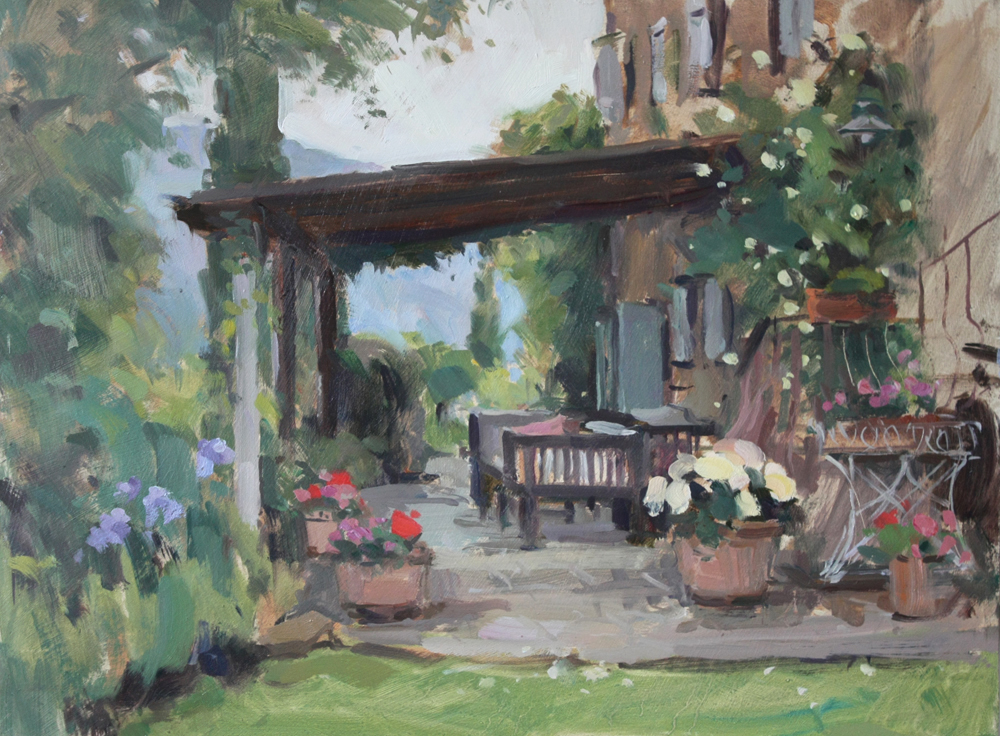 Umbrian terrace with flowers