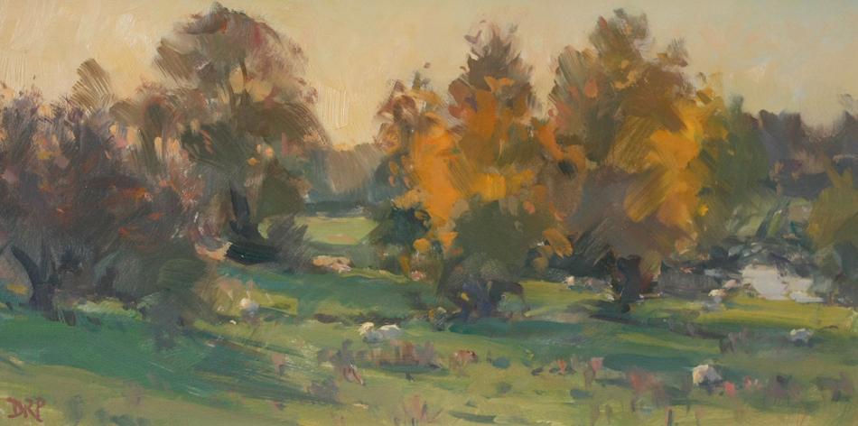 Fading Autumnn light, Passenham meadow