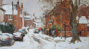 'After the blizzard, Mill Lane, Stony Stratford' - 10x18in, oil on board