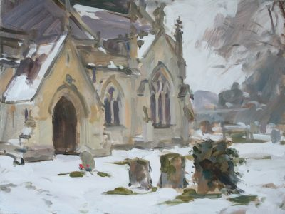 'Silence amongst the snow, Calverton church' - 12x16in, oil on board