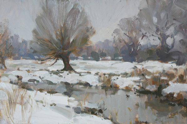 'Snow along the river bank, Stony Stratford' - 14x10in, oil on board