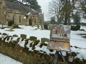 Painting on location at Calverton Church