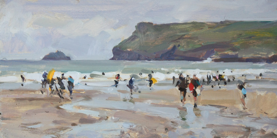 Surfers at Polzeath, 7.5x15in, oil on board