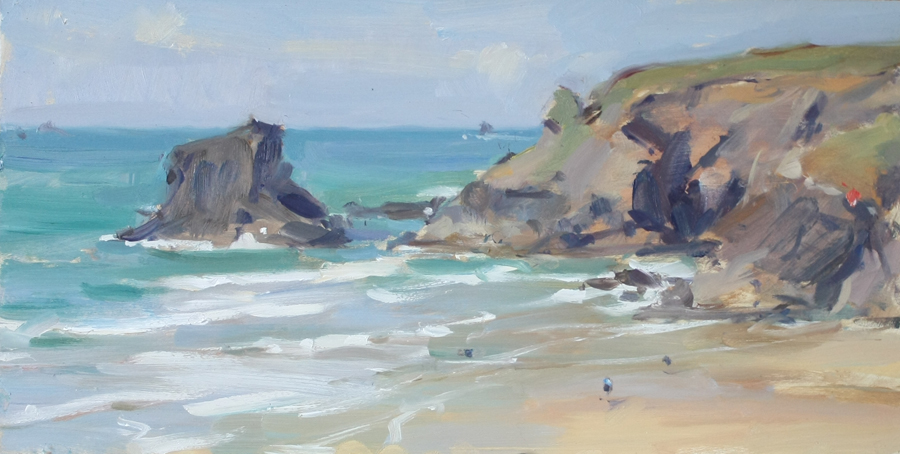 Will's Rock, Portcothan - 8x16in, oil on board