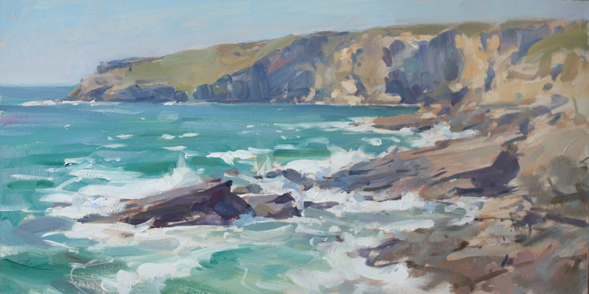 Trebarwith Strand, evening high tide - 11.5 x 22.5in, oil on board
