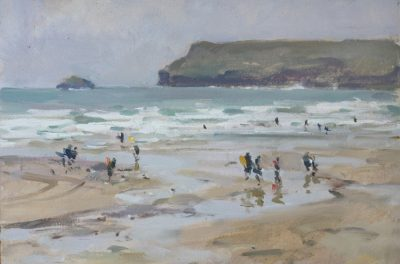 Hardy surfers, Polzeath - 10x14in, oil on board