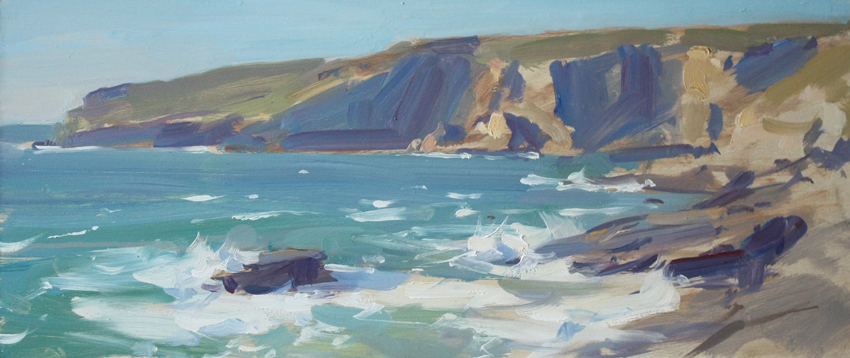 Evening light, Trebarwith Strand - 6 x 14.25in, oil on board