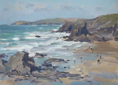 Incoming tide, Portcothan - 9x13.5in, oil on board