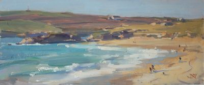 Warm evening sunshine, Constantine Bay - 6x14in, oil on board