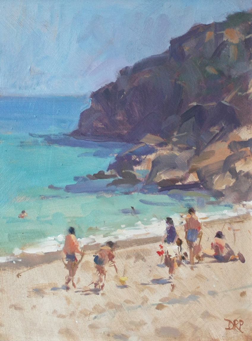 Beach activity at Porthcurno