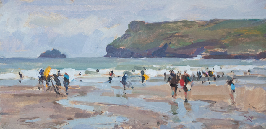 Surfers at Polzeath