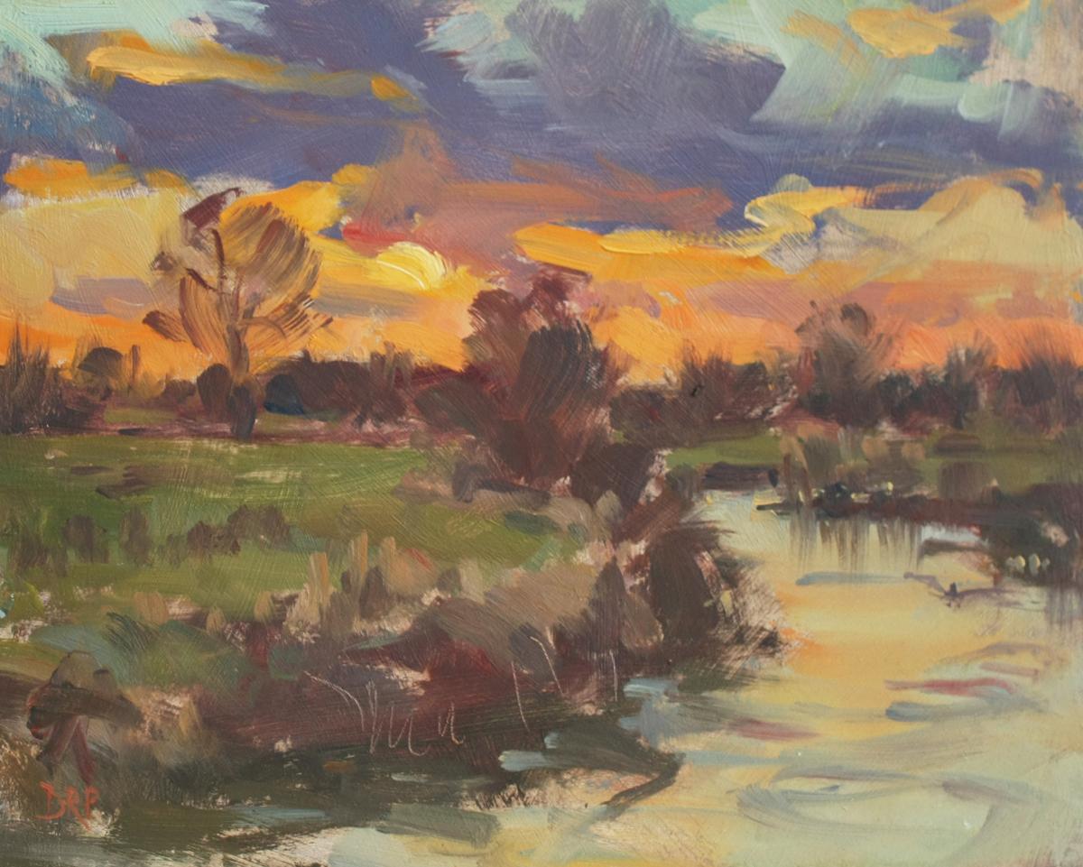 Sunset over the river Ouse, Passenham