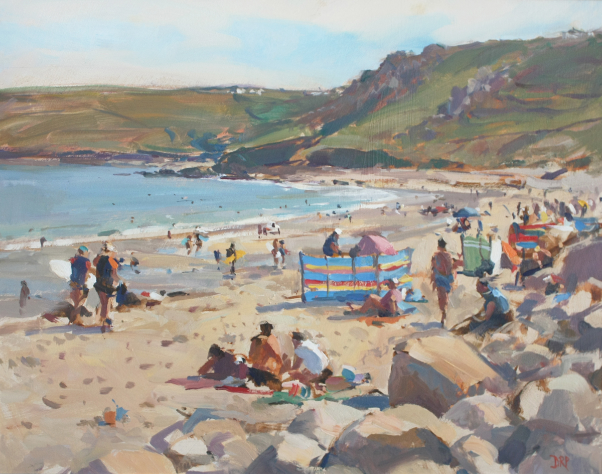 Towards Gwynver, Sennen Cove - oil painting by David Pilgrim ROI