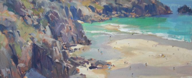 Low tide, Treen Cove - oil painting by David Pilgrim ROI